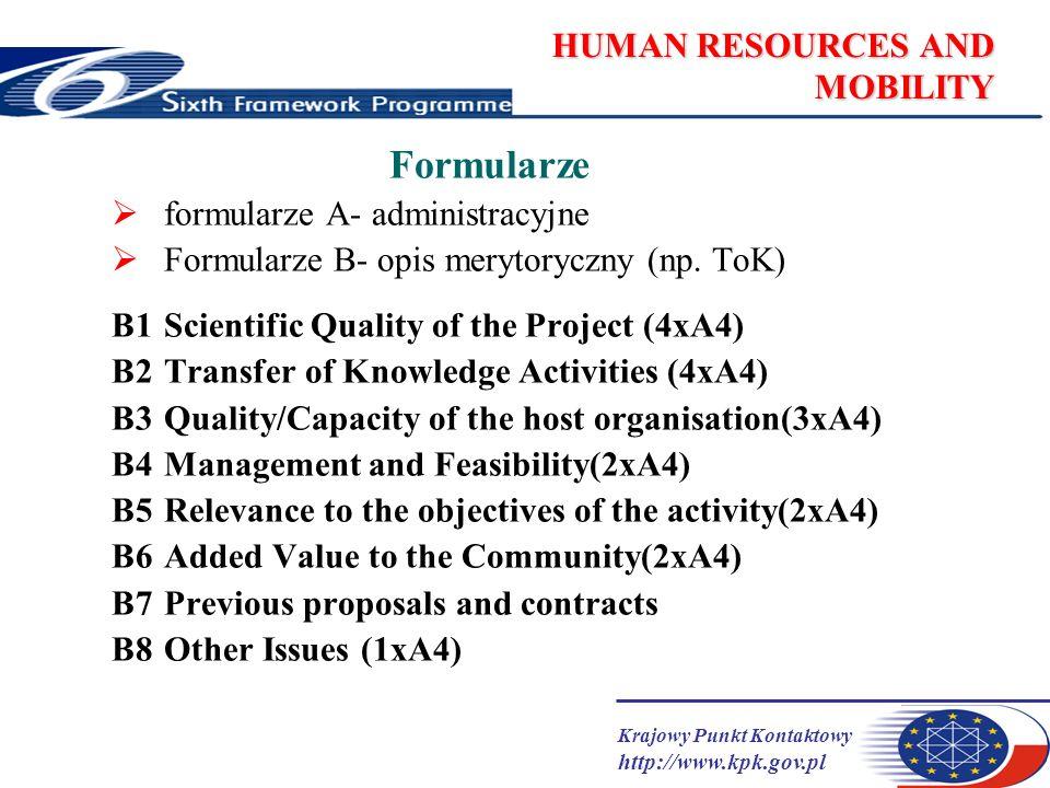 Krajowy Punkt Kontaktowy http://www.kpk.gov.pl HUMAN RESOURCES AND MOBILITY Formularze formularze A- administracyjne Formularze B- opis merytoryczny (