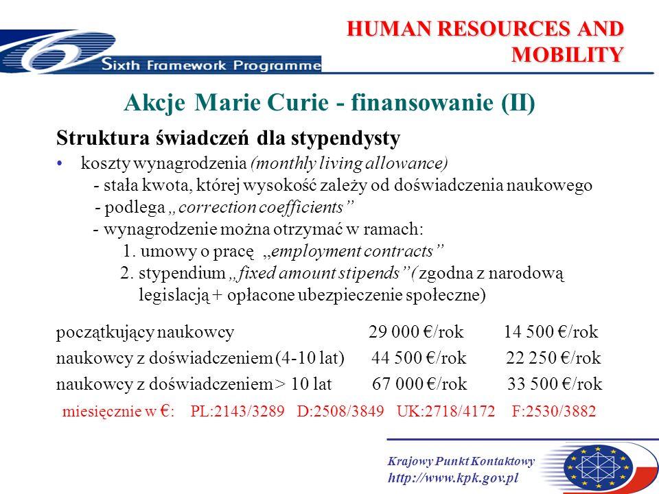 Krajowy Punkt Kontaktowy http://www.kpk.gov.pl HUMAN RESOURCES AND MOBILITY Akcje Marie Curie - finansowanie (II) Struktura świadczeń dla stypendysty