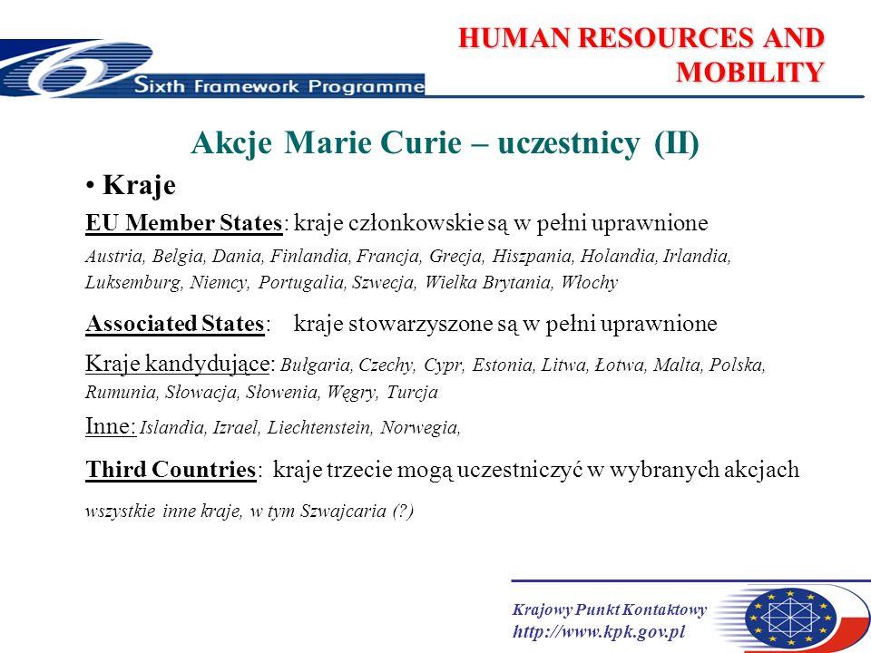 Krajowy Punkt Kontaktowy http://www.kpk.gov.pl HUMAN RESOURCES AND MOBILITY Akcje Marie Curie – zasady ogólne tylko finansowane mogą być pobyty zagraniczne (chyba, że warunki mówią inaczej, np.granty powrotne).