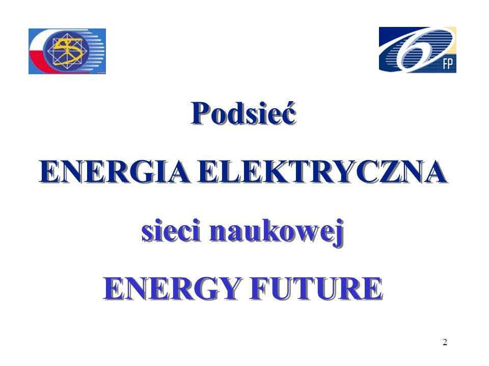 2 Podsieć ENERGIA ELEKTRYCZNA sieci naukowej ENERGY FUTURE Podsieć ENERGIA ELEKTRYCZNA sieci naukowej ENERGY FUTURE
