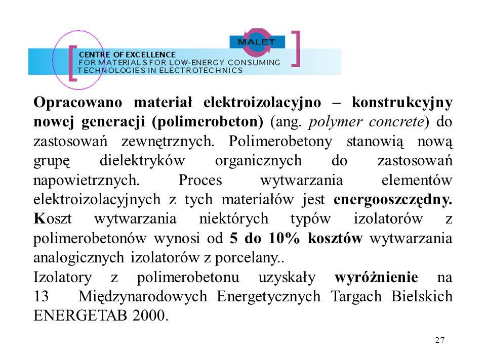 27 Opracowano materiał elektroizolacyjno – konstrukcyjny nowej generacji (polimerobeton) (ang. polymer concrete) do zastosowań zewnętrznych. Polimerob