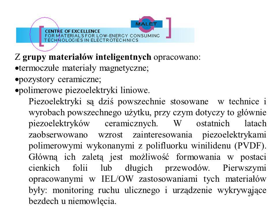 29 Z grupy materiałów inteligentnych opracowano: termoczułe materiały magnetyczne; pozystory ceramiczne; polimerowe piezoelektryki liniowe. Piezoelekt