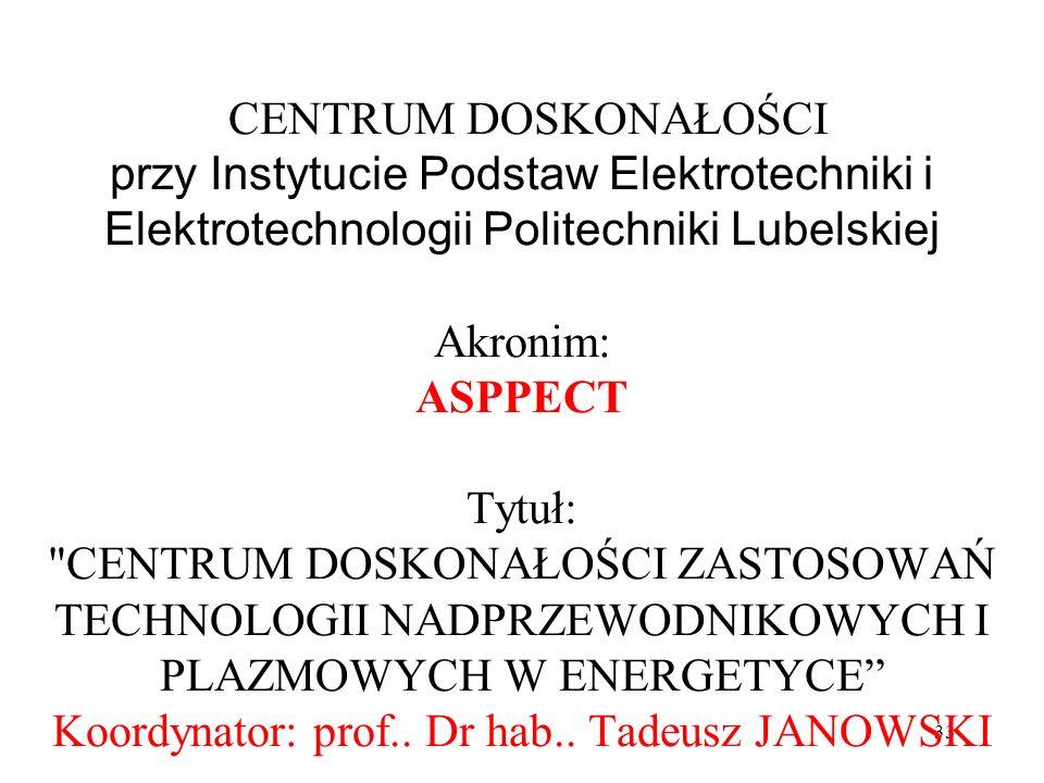 33 CENTRUM DOSKONAŁOŚCI przy Instytucie Podstaw Elektrotechniki i Elektrotechnologii Politechniki Lubelskiej Akronim: ASPPECT Tytuł: