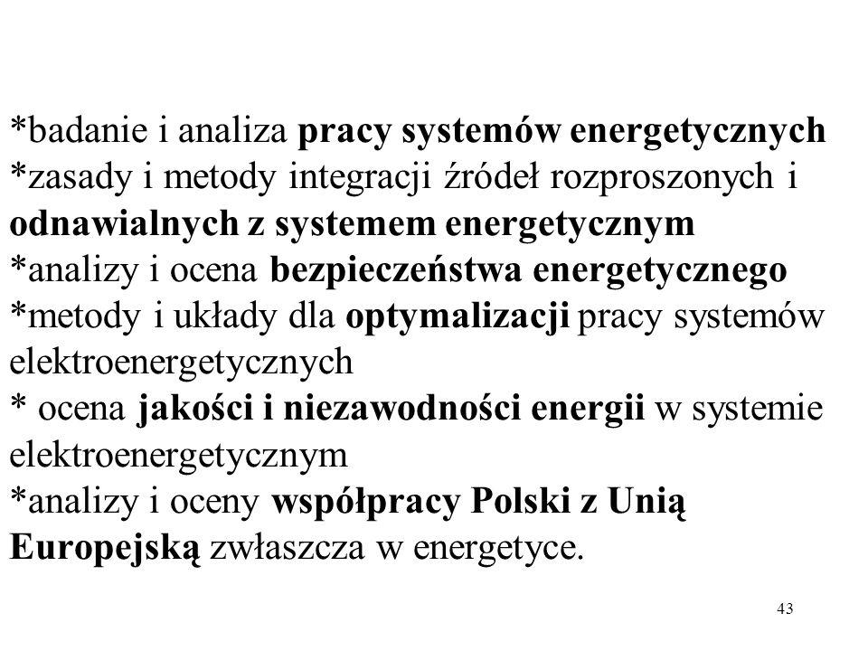 43 *badanie i analiza pracy systemów energetycznych *zasady i metody integracji źródeł rozproszonych i odnawialnych z systemem energetycznym *analizy