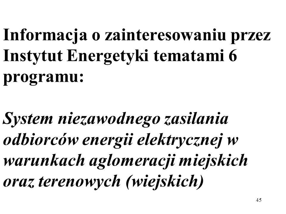 45 Informacja o zainteresowaniu przez Instytut Energetyki tematami 6 programu: System niezawodnego zasilania odbiorców energii elektrycznej w warunkac