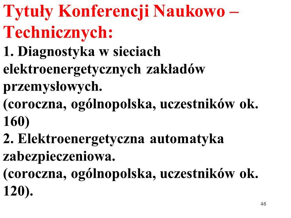 46 Tytuły Konferencji Naukowo – Technicznych: 1. Diagnostyka w sieciach elektroenergetycznych zakładów przemysłowych. (coroczna, ogólnopolska, uczestn