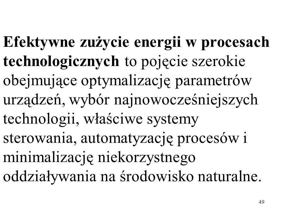 49 Efektywne zużycie energii w procesach technologicznych to pojęcie szerokie obejmujące optymalizację parametrów urządzeń, wybór najnowocześniejszych