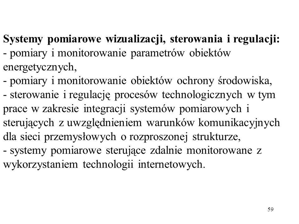 59 Systemy pomiarowe wizualizacji, sterowania i regulacji: - pomiary i monitorowanie parametrów obiektów energetycznych, - pomiary i monitorowanie obi