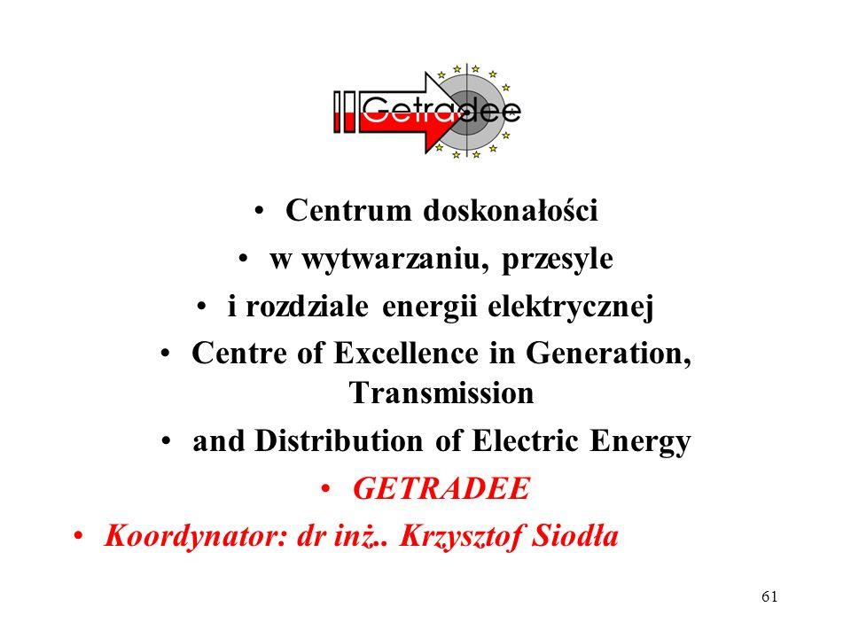 61 Centrum doskonałości w wytwarzaniu, przesyle i rozdziale energii elektrycznej Centre of Excellence in Generation, Transmission and Distribution of