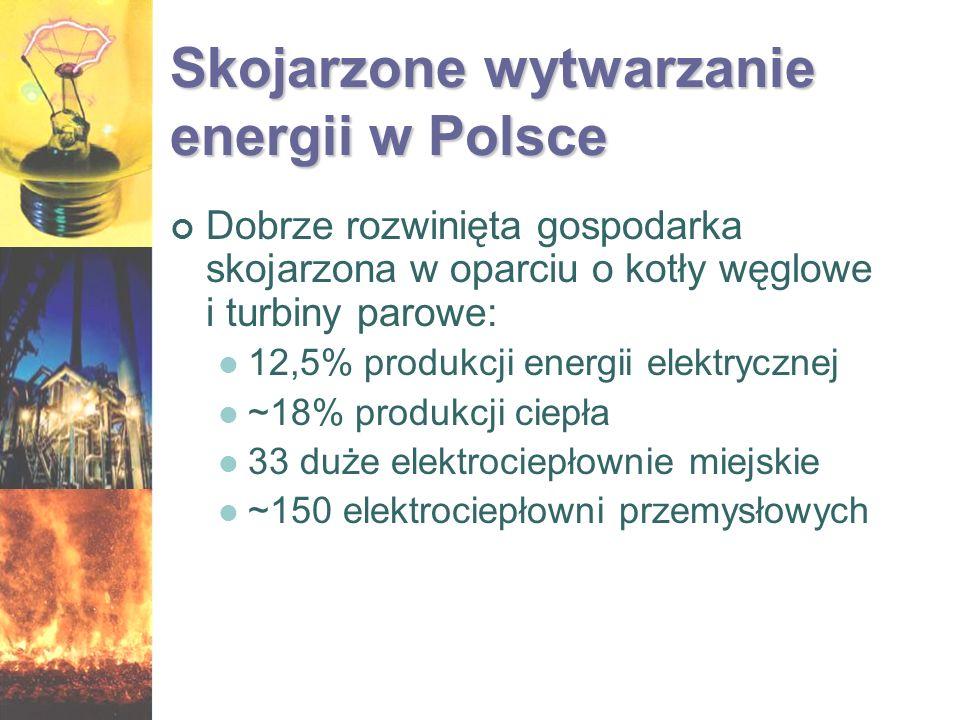 Skojarzone wytwarzanie energii w Polsce Dobrze rozwinięta gospodarka skojarzona w oparciu o kotły węglowe i turbiny parowe: 12,5% produkcji energii el