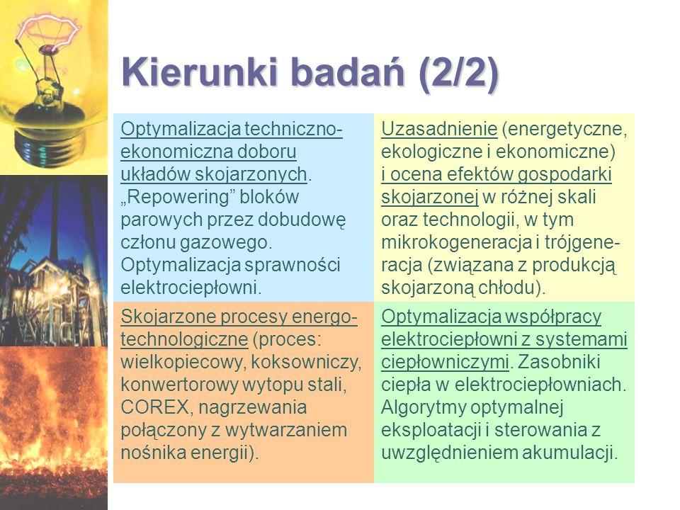 Kierunki badań (2/2) Optymalizacja techniczno- ekonomiczna doboru układów skojarzonych. Repowering bloków parowych przez dobudowę członu gazowego. Opt