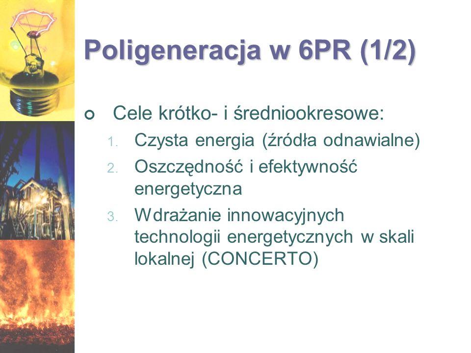 Poligeneracja w 6PR (1/2) Cele krótko- i średniookresowe: 1. Czysta energia (źródła odnawialne) 2. Oszczędność i efektywność energetyczna 3. Wdrażanie