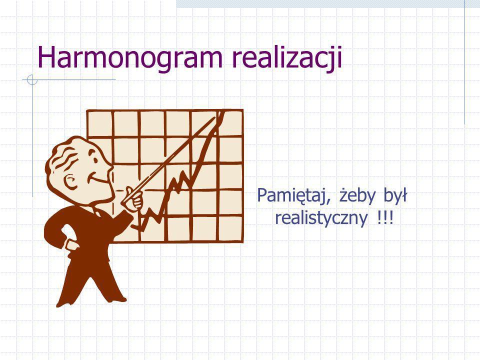 Harmonogram realizacji Pamiętaj, żeby był realistyczny !!!