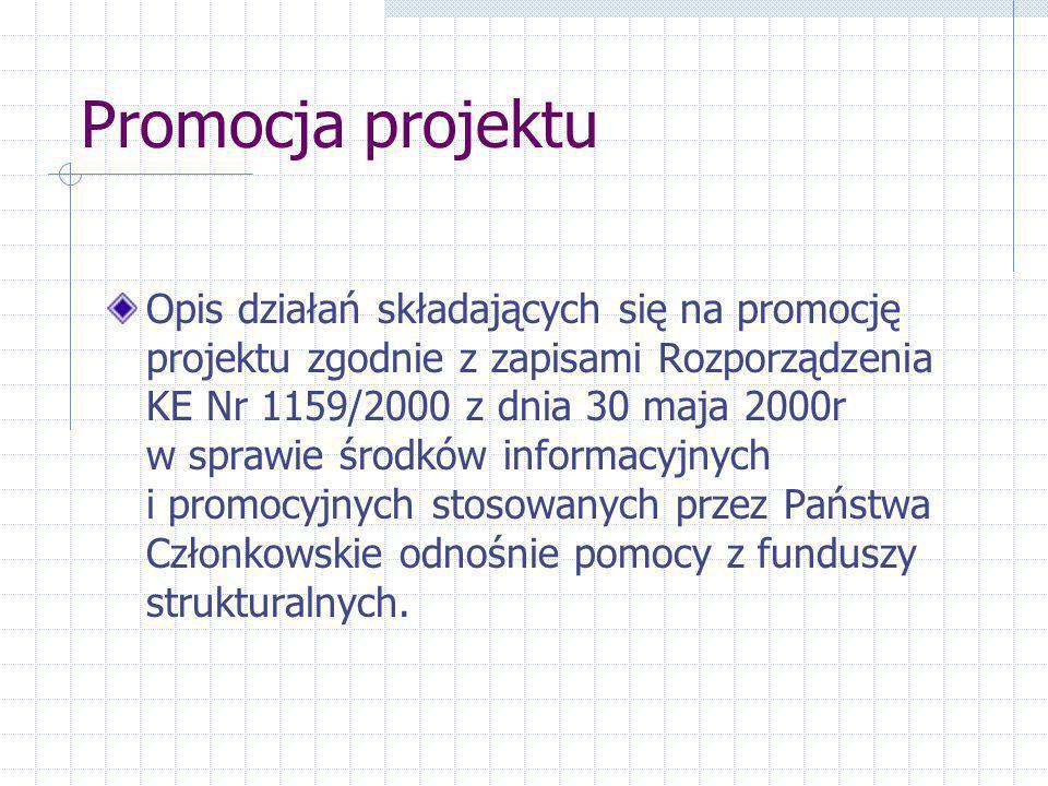 Promocja projektu Opis działań składających się na promocję projektu zgodnie z zapisami Rozporządzenia KE Nr 1159/2000 z dnia 30 maja 2000r w sprawie środków informacyjnych i promocyjnych stosowanych przez Państwa Członkowskie odnośnie pomocy z funduszy strukturalnych.