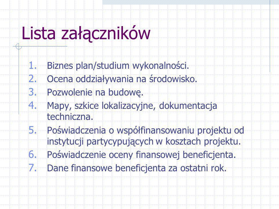 Lista załączników 1. Biznes plan/studium wykonalności.