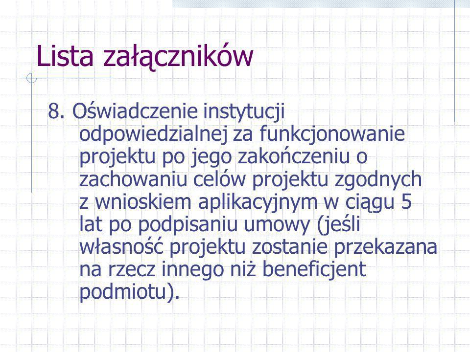 Lista załączników 8.