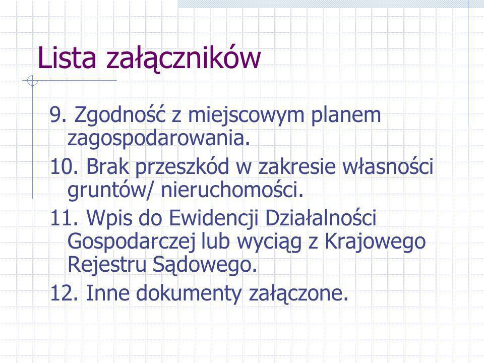 Lista załączników 9.Zgodność z miejscowym planem zagospodarowania.