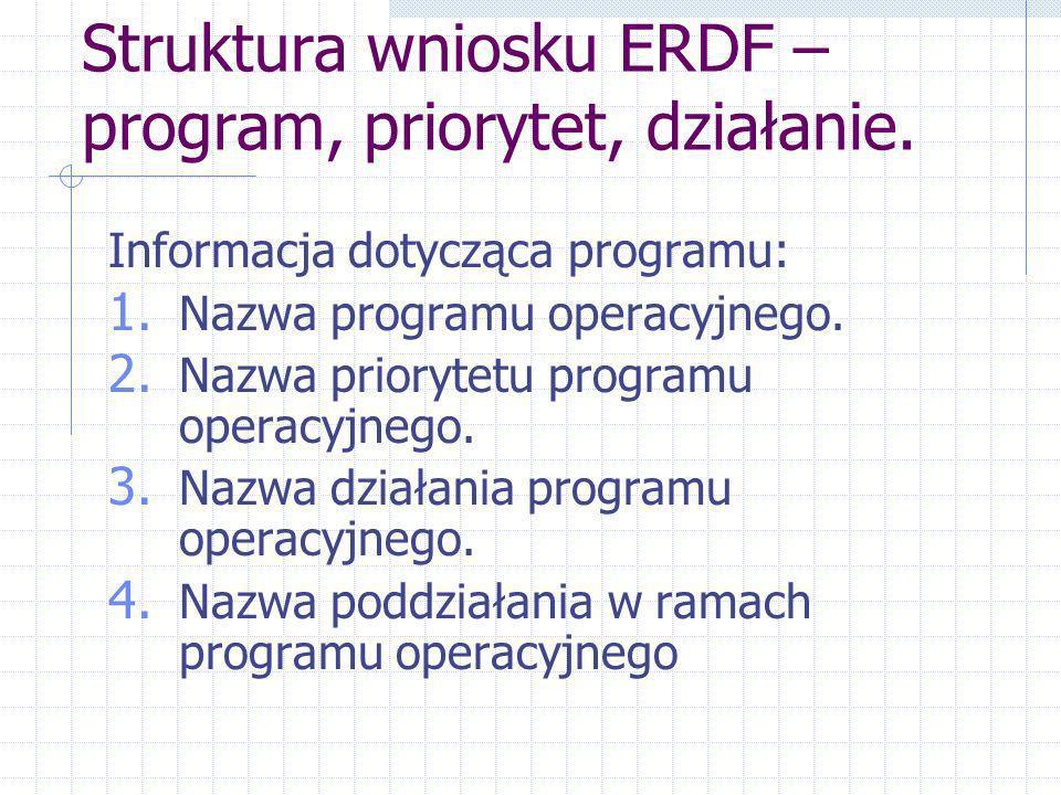 Struktura wniosku ERDF – program, priorytet, działanie.