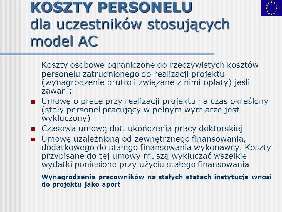 KOSZTY PERSONELU dla uczestników stosujących model AC Koszty osobowe ograniczone do rzeczywistych kosztów personelu zatrudnionego do realizacji projek
