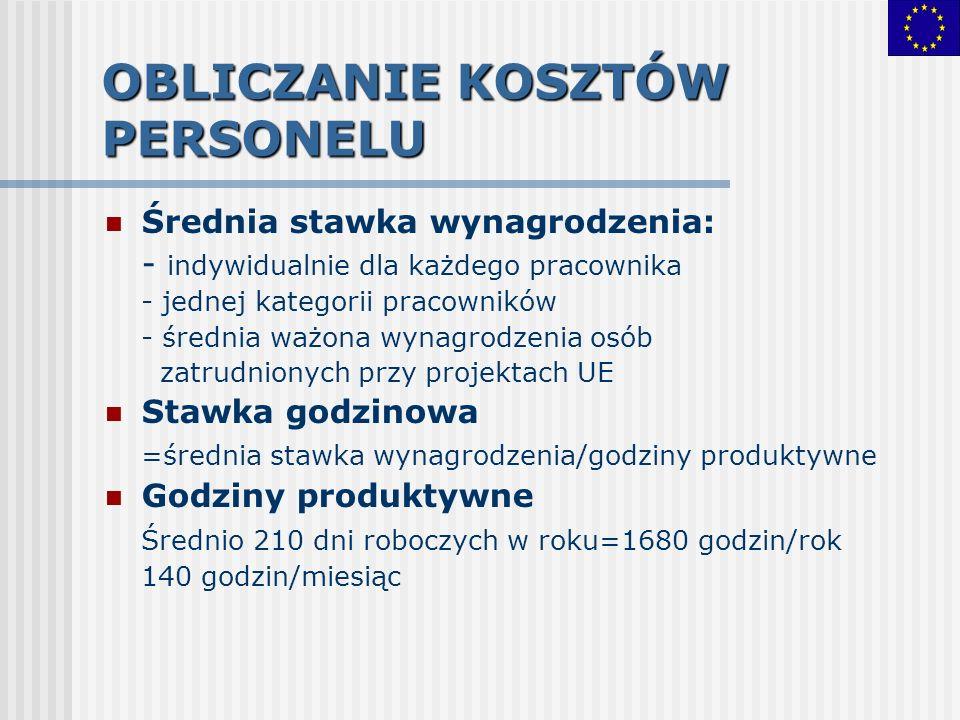 OBLICZANIE KOSZTÓW PERSONELU Średnia stawka wynagrodzenia: - indywidualnie dla każdego pracownika - jednej kategorii pracowników - średnia ważona wyna