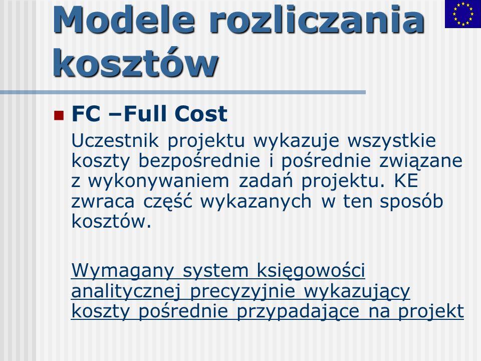 Modele rozliczania kosztów FC –Full Cost Uczestnik projektu wykazuje wszystkie koszty bezpośrednie i pośrednie związane z wykonywaniem zadań projektu.