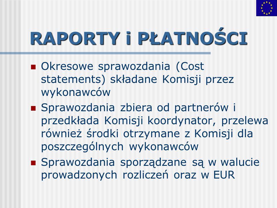 RAPORTY i PŁATNOŚCI Okresowe sprawozdania (Cost statements) składane Komisji przez wykonawców Sprawozdania zbiera od partnerów i przedkłada Komisji ko