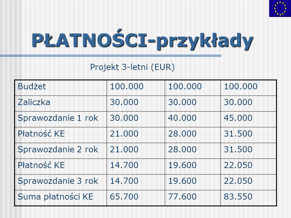 PŁATNOŚCI-przykłady Projekt 3-letni (EUR) Budżet100.000 Zaliczka30.000 Sprawozdanie 1 rok30.00040.00045.000 Płatność KE21.00028.00031.500 Sprawozdanie
