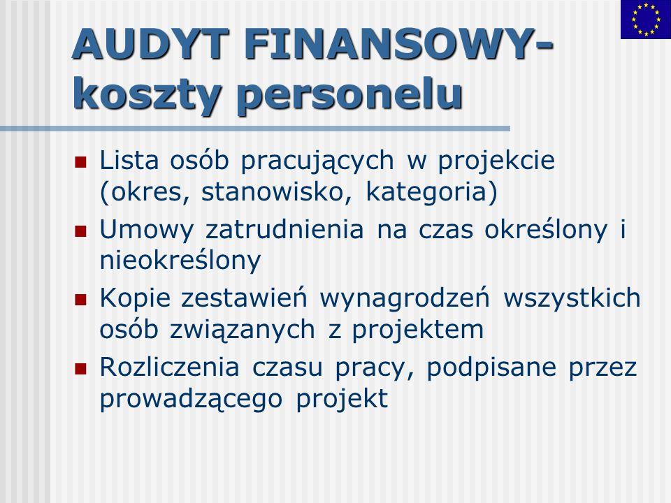 AUDYT FINANSOWY- koszty personelu Lista osób pracujących w projekcie (okres, stanowisko, kategoria) Umowy zatrudnienia na czas określony i nieokreślon