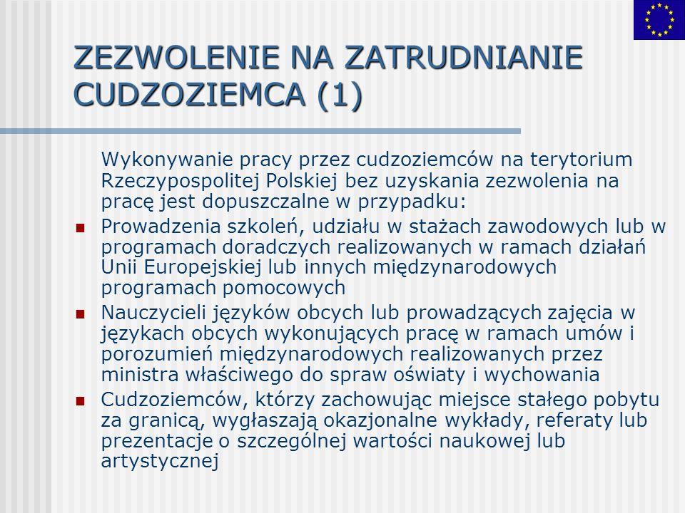 Wykonywanie pracy przez cudzoziemców na terytorium Rzeczypospolitej Polskiej bez uzyskania zezwolenia na pracę jest dopuszczalne w przypadku: Prowadze