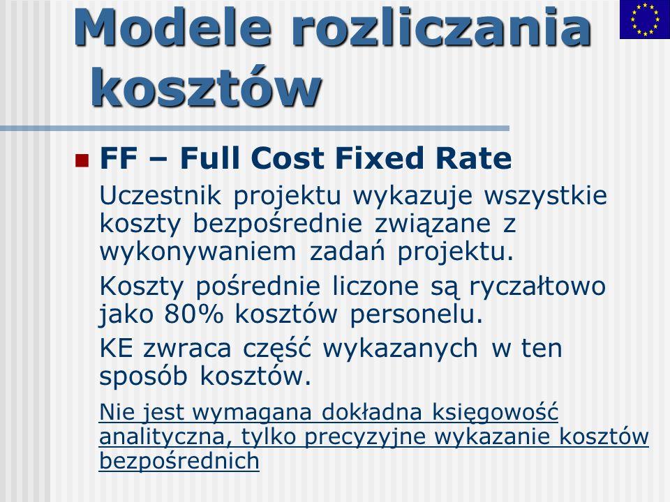 Modele rozliczania kosztów FF – Full Cost Fixed Rate Uczestnik projektu wykazuje wszystkie koszty bezpośrednie związane z wykonywaniem zadań projektu.
