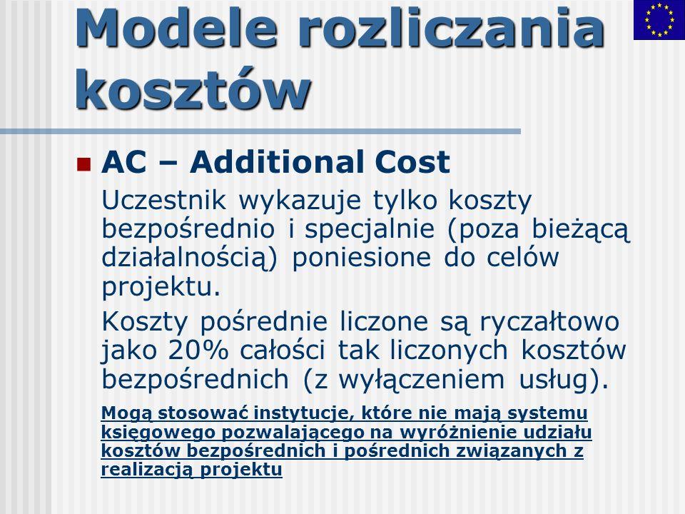 Modele rozliczania kosztów AC – Additional Cost Uczestnik wykazuje tylko koszty bezpośrednio i specjalnie (poza bieżącą działalnością) poniesione do c