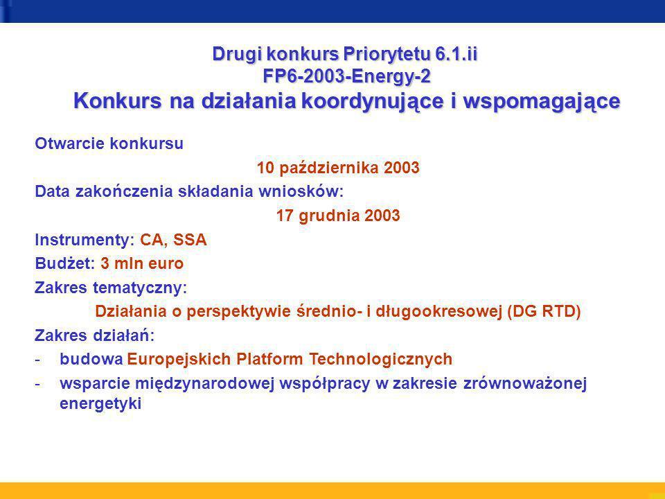 Otwarcie konkursu 10 października 2003 Data zakończenia składania wniosków: 17 grudnia 2003 Instrumenty: CA, SSA Budżet: 3 mln euro Zakres tematyczny: Działania o perspektywie średnio- i długookresowej (DG RTD) Zakres działań: -budowa Europejskich Platform Technologicznych -wsparcie międzynarodowej współpracy w zakresie zrównoważonej energetyki Drugi konkurs Priorytetu 6.1.ii FP6-2003-Energy-2 Konkurs na działania koordynujące i wspomagające
