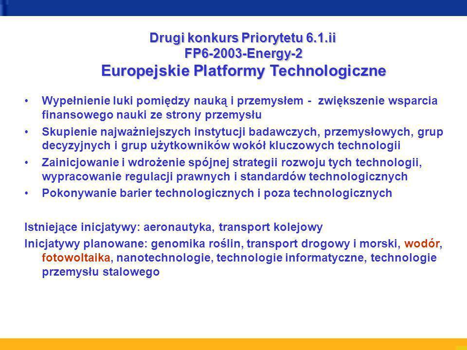 Wypełnienie luki pomiędzy nauką i przemysłem - zwiększenie wsparcia finansowego nauki ze strony przemysłu Skupienie najważniejszych instytucji badawczych, przemysłowych, grup decyzyjnych i grup użytkowników wokół kluczowych technologii Zainicjowanie i wdrożenie spójnej strategii rozwoju tych technologii, wypracowanie regulacji prawnych i standardów technologicznych Pokonywanie barier technologicznych i poza technologicznych Istniejące inicjatywy: aeronautyka, transport kolejowy Inicjatywy planowane: genomika roślin, transport drogowy i morski, wodór, fotowoltaika, nanotechnologie, technologie informatyczne, technologie przemysłu stalowego Drugi konkurs Priorytetu 6.1.ii FP6-2003-Energy-2 Europejskie Platformy Technologiczne