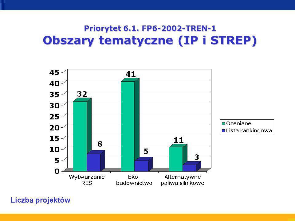 Priorytet 6.1. FP6-2002-TREN-1 Obszary tematyczne (IP i STREP) Liczba projektów