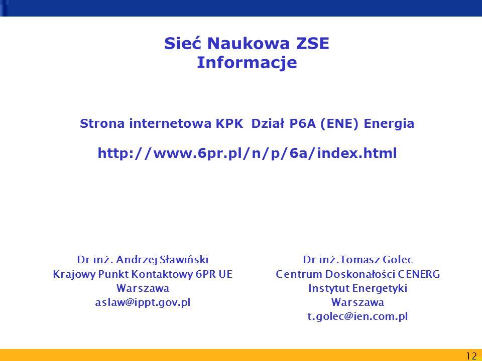 12 Sieć Naukowa ZSE Informacje Strona internetowa KPK Dział P6A (ENE) Energia http://www.6pr.pl/n/p/6a/index.html Dr inż. Andrzej Sławiński Krajowy Pu