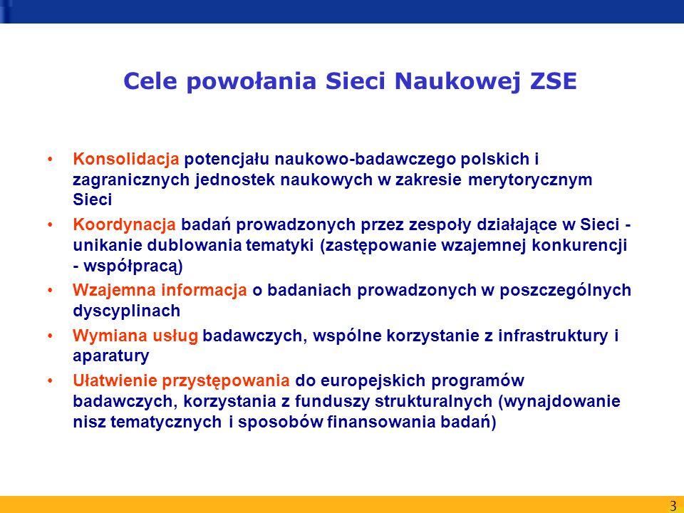 3 Cele powołania Sieci Naukowej ZSE Konsolidacja potencjału naukowo-badawczego polskich i zagranicznych jednostek naukowych w zakresie merytorycznym S