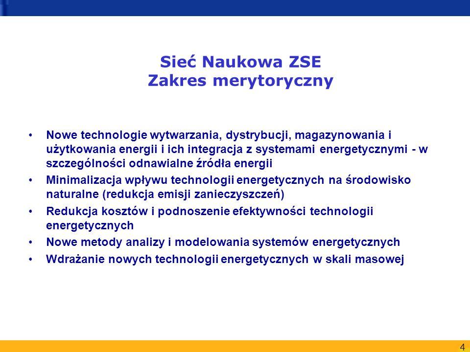 4 Sieć Naukowa ZSE Zakres merytoryczny Nowe technologie wytwarzania, dystrybucji, magazynowania i użytkowania energii i ich integracja z systemami ene