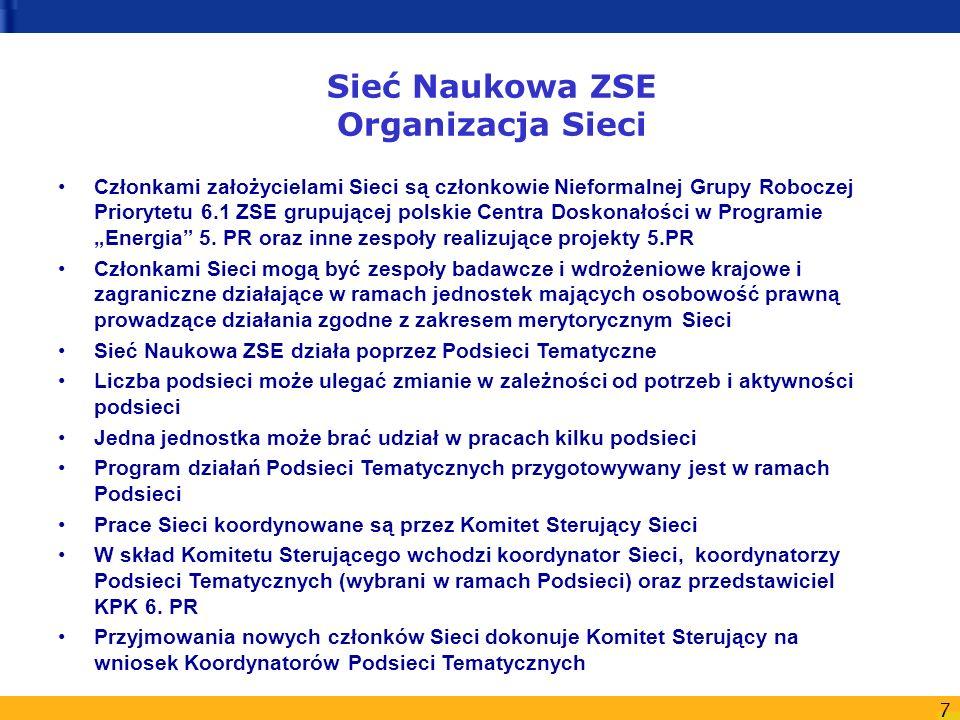 7 Sieć Naukowa ZSE Organizacja Sieci Członkami założycielami Sieci są członkowie Nieformalnej Grupy Roboczej Priorytetu 6.1 ZSE grupującej polskie Cen
