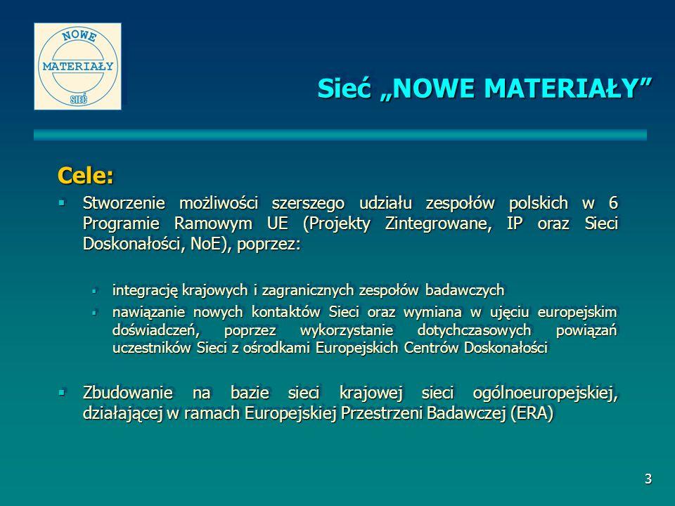 3 Cele: Stworzenie możliwości szerszego udziału zespołów polskich w 6 Programie Ramowym UE (Projekty Zintegrowane, IP oraz Sieci Doskonałości, NoE), p
