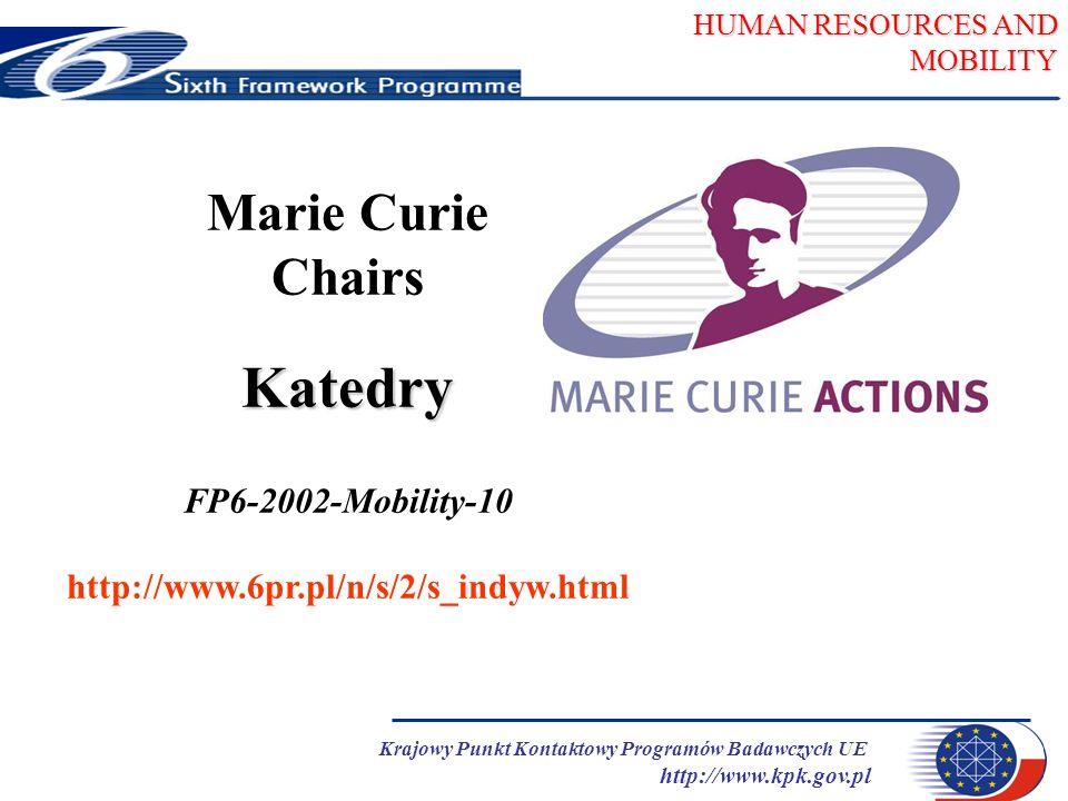 HUMAN RESOURCES AND MOBILITY Krajowy Punkt Kontaktowy Programów Badawczych UE http://www.kpk.gov.pl Katedry Marie Curie - najbliższy konkurs 21 stycznia 2004 termin : 21 stycznia 2004 godz.