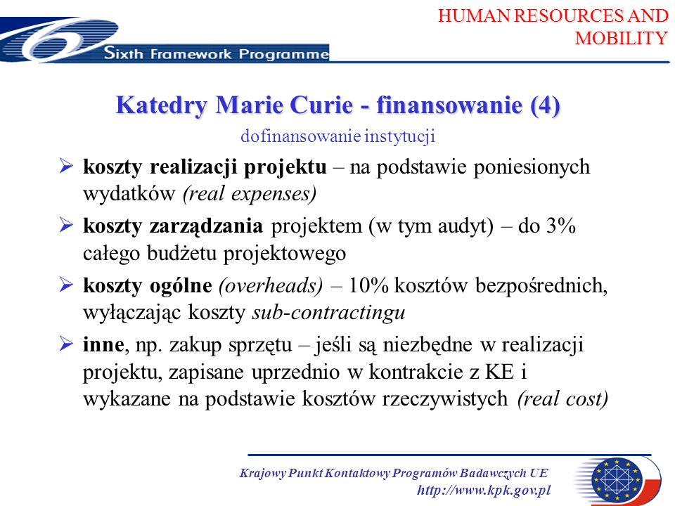 HUMAN RESOURCES AND MOBILITY Krajowy Punkt Kontaktowy Programów Badawczych UE http://www.kpk.gov.pl Katedry Marie Curie - finansowanie (4) dofinansowanie instytucji koszty realizacji projektu – na podstawie poniesionych wydatków (real expenses) koszty zarządzania projektem (w tym audyt) – do 3% całego budżetu projektowego koszty ogólne (overheads) – 10% kosztów bezpośrednich, wyłączając koszty sub-contractingu inne, np.