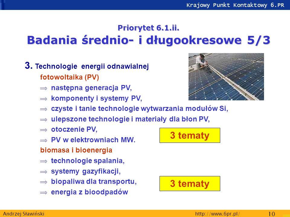 Krajowy Punkt Kontaktowy 6.PR http://www.6pr.pl/ 10 Andrzej Sławiński Priorytet 6.1.ii.