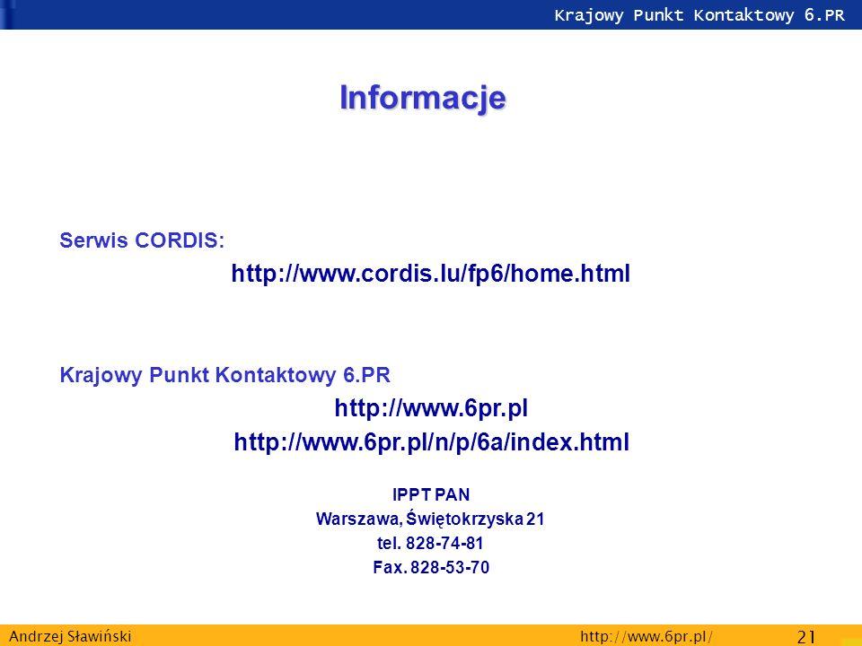 Krajowy Punkt Kontaktowy 6.PR http://www.6pr.pl/ 21 Andrzej Sławiński Informacje Serwis CORDIS: http://www.cordis.lu/fp6/home.html Krajowy Punkt Kontaktowy 6.PR http://www.6pr.pl http://www.6pr.pl/n/p/6a/index.html IPPT PAN Warszawa, Świętokrzyska 21 tel.
