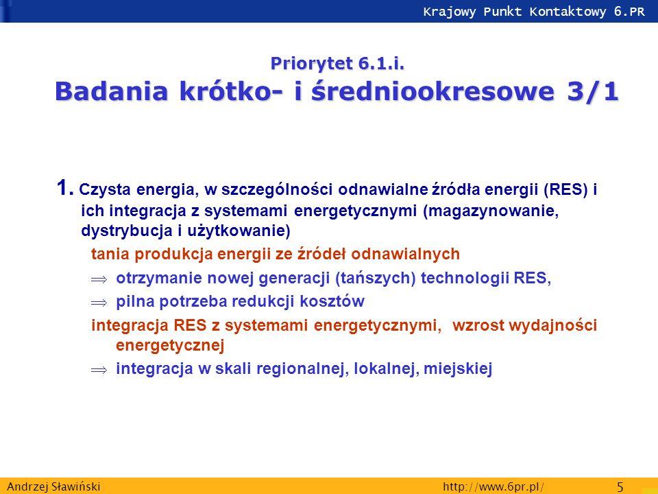 Krajowy Punkt Kontaktowy 6.PR http://www.6pr.pl/ 5 Andrzej Sławiński Priorytet 6.1.i.