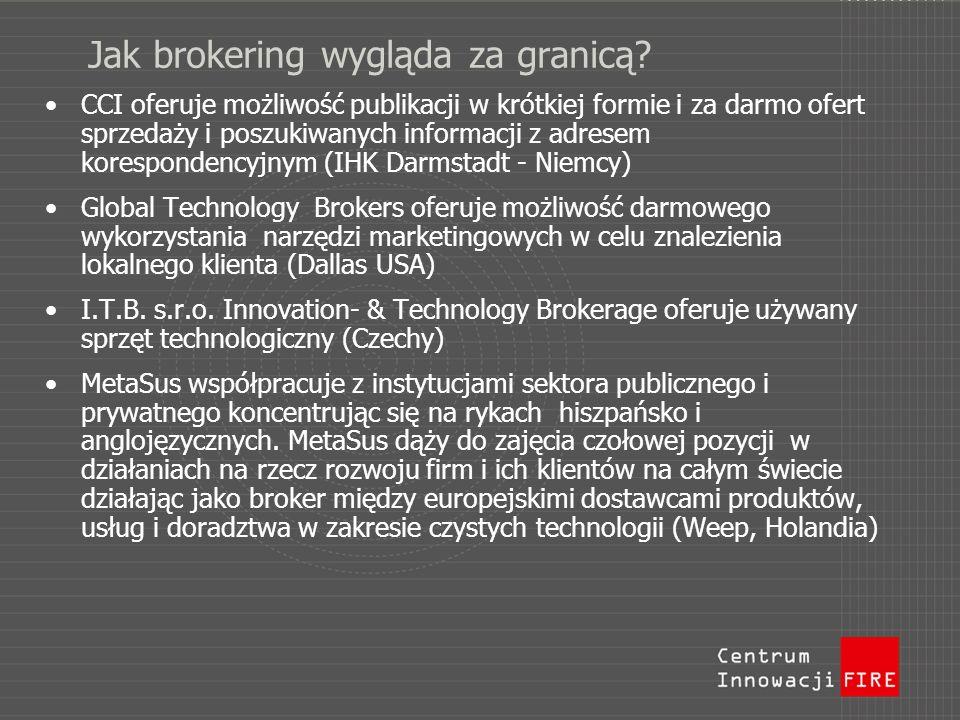 Jak brokering wygląda za granicą? CCI oferuje możliwość publikacji w krótkiej formie i za darmo ofert sprzedaży i poszukiwanych informacji z adresem k