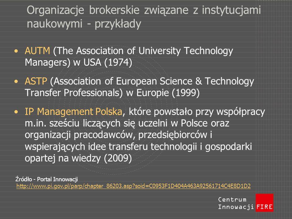 Organizacje brokerskie związane z instytucjami naukowymi - przykłady AUTM (The Association of University Technology Managers) w USA (1974) ASTP (Assoc