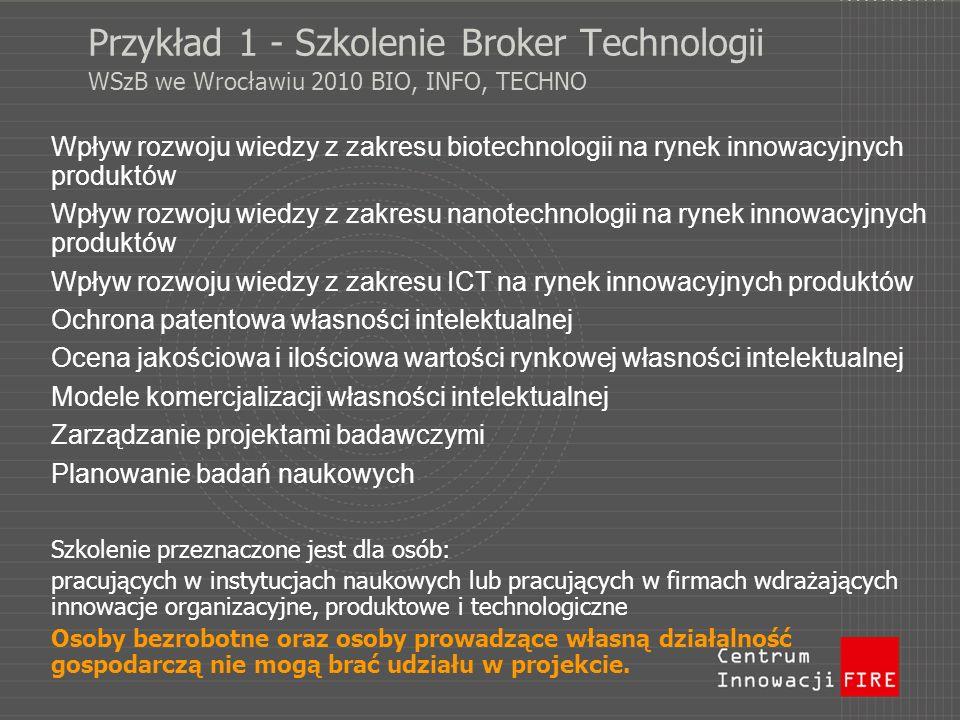 Przykład 1 - Szkolenie Broker Technologii WSzB we Wrocławiu 2010 BIO, INFO, TECHNO Wpływ rozwoju wiedzy z zakresu biotechnologii na rynek innowacyjnyc