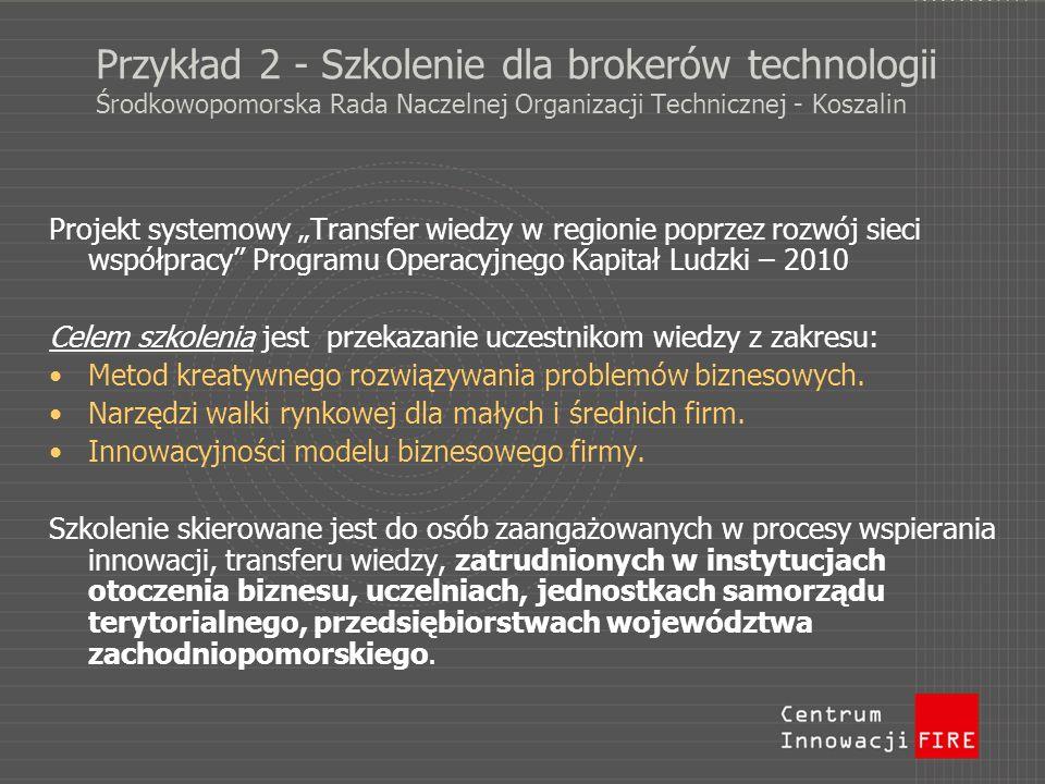 Przykład 2 - Szkolenie dla brokerów technologii Środkowopomorska Rada Naczelnej Organizacji Technicznej - Koszalin Projekt systemowy Transfer wiedzy w