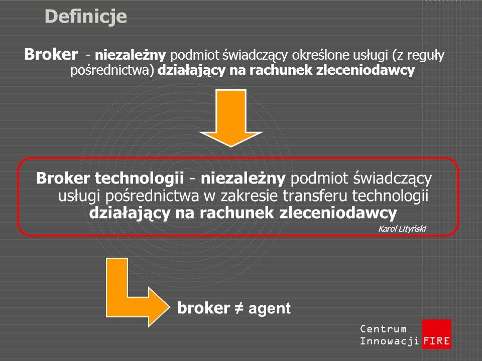 Definicje Broker - niezależny podmiot świadczący określone usługi (z reguły pośrednictwa) działający na rachunek zleceniodawcy Broker technologii - ni