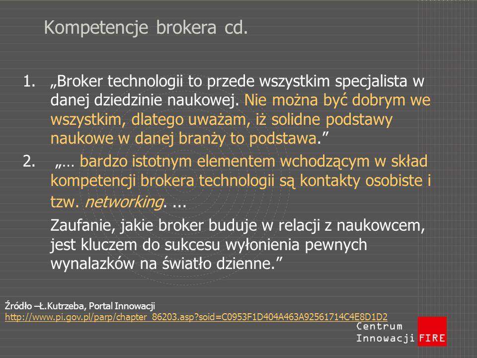 Kompetencje brokera cd. 1.Broker technologii to przede wszystkim specjalista w danej dziedzinie naukowej. Nie można być dobrym we wszystkim, dlatego u